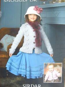 SIRDAR 2222 - GIRLS/BABIES DK BOBBLE CLUSTER CARDIGAN KNITTING PATTERN 16/26in