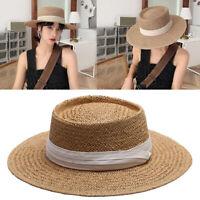 Cappello estivo di paglia a tesa larga bowknot per cappello da sole da spiaggia