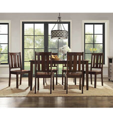 7 Piece Dining Set Table And 6 Chairs Classic Mission Style Mocha Solid Wood