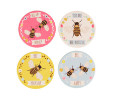 Sass & Belle Set of 4 Ceramic Bee Happy Honey Coasters Cork Bottom Multicolour