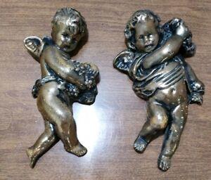 "Vintage 2 CHERUB angels GOLD Wood Italian Antique Hanging Decor Figurines 7""h"