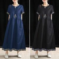 Women Elegant Summer RoundNeck Dress Floral Casual Loose Dress Short Sleeve