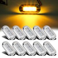 "10x Clear / Amber 3 LED 3"" Oblong RV Marine Courtesy Marker Light 12V Waterproof"