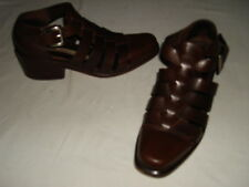 "VIA SPIGA BROWN LEATHER ANKLE STRAP 2"" BLOCK HEELS SANDALS Sz.6M  ITALY"