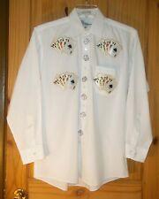 Mili Designs White Poly/Cotton Shirt w/ Royal Flush Appliques, Mens 15 1/2 32-33