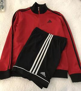 Adidas Lot Jacket Red Black Full Zip 10/12  And Black Short M