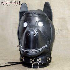 Genuine Leather Bondage Dog Mask Hood with Mouth Gag & Blindfold Restraint