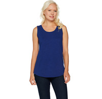 C. Wonder Essentials Tank with Scoop Neck and Shirttail Hem Color Navy Size L