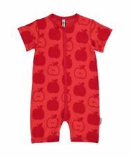 Maxomorra Organic Cotton Baby Girl Boy Red Apple Rompersuit 0 3 6 12 18 24 0-3 Months
