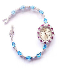 AMAZING Top Swiss Blue Topaz Red Rhodolite Gold Plated STERLING 925 Silver Watch