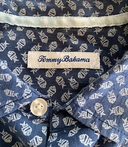 TOMMY BAHAMA Men Silk Blend Summer Shirt with Fish Size Large