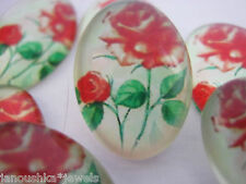 5 Oval Cabochons Red Roses Glass Dome (18x13mm) Jewellery Cardmaking Crafts