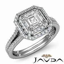 Split Shank Asscher Diamond Antique Engagement Ring GIA H SI1 Platinum 2.55 ct