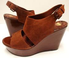 """*NIB Stunning Juicy Couture """"Kolbe"""" Rich Brown Suede Platform Wedges sz 7.5-Nice"""