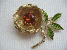 Beautiful Sarah Cov. Large Amber Rhinestone Brooch Pin With Green Enamel Leaves