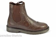 Brogue Chelsea Boots Mens Boys Ankle High Leather Shoes Sole Size 7 8 9 10 11 12