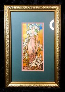 Alphonse Mucha The Flowers Lilies Art Nouveau Deco Framed Matted Print Beautiful