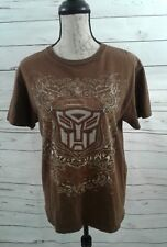 Mens Transfomers Autobots Medium T-Shirt  Brown Graphic Protect and Serve