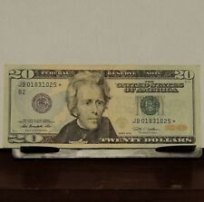 $20 Dollar Star Note Bill Clean Circulated serial #'s add up to 20 low # Lucky