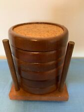 Vintage Set of 6 Wood and Cork Coaster Set With Wooden Stand Barware Retro
