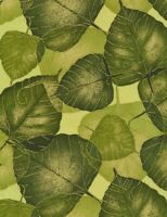 Floral Fabric - Floral Large Green Leaf Metallic - Timeless Treasures YARD