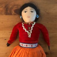 Vintage Navajo Cloth Maiden Doll With Handpainted Face And Beaded Jewelry Bodice