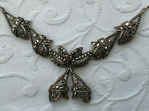 Old Vintage Jewellery Silver Tone Marcasite Collar Necklace