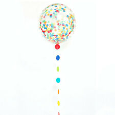 """24"""" Multi Coloured Confetti Filled Latex Balloon With Tail Party Decoration"""