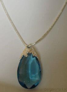 "Faux Sapphire Aquamarine Blue Teardrop Pendant with 30""Necklace"