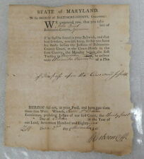 1786 Revolutionary Colonial Baltimore Maryland Court Letter Police Document Note