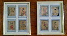 Vintage Japanese Silk Paintings 8 Geisha Framed