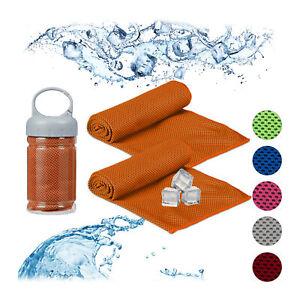 2 x Kühlendes Handtuch orange Kühltücher Set Schweißhandtuch Sportlerhandtuch