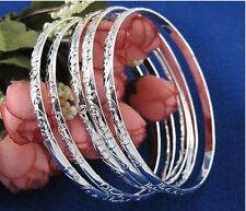 925 Sterling Silver Plated bracelet bangles SET OF 5 w etchings - SALE!
