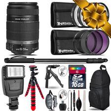 Canon EFS 55-250 IS II + Slave Flash + MACRO, UV-CPL-FLD - 16GB Accessory Bundle