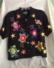 Berek 2 Takako  Sakon Sea Turtles and Starfish Black Cardigan Sweater SZ M