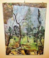 Mid-Century Cubist Southwestern Landscape Oil Painting Forest Trees Butcher VTG