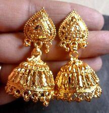 22K Gold Plated Indian 3 cm Long Wedding Ball Bead Jhumka Earrings b