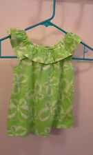 Green with white butterflies Faded Glory tank girls size 3T