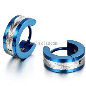 2Pcs Stainless Steel Hinged Hoop Huggie Snap on Earrings Men's Jewelry