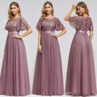 Ever-Pretty Round Neck A-Line Short Sleeve Embroidery Long Evening Prom Dresses