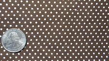 "Vintage Cotton Fabric WHITE POLKA DOTS ON DARK BROWN 17""X44"""