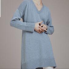 Womens Gray V Neck Cashmere Sweater Tunic Designer Valentina Kova Marcus $1895