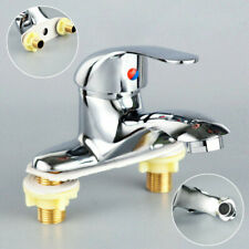 Bathroom Double Couplet Basin Sink Faucet Waterfall Countertop Chrome Mixer Tap
