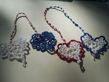 2 Tatted Bookmarks Heart to Heart Red , White, Blue by Dove Country Tatting