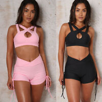 Women 2 Piece Bodycon Hollow Crop Top+Shorts Cut Out Summer Tracksuit Set Outfit