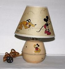 "DISNEY1950's MIC​KEY MOUSE""TIN DESKTOP LAMP-SORENG MANEGOLD+""H​AND PAINTED""SHADE"
