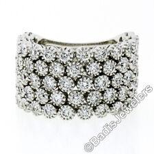 Wide 18K White Gold 2.72ct Diamond Flexible Milgrain Honeycomb Cluster Band Ring