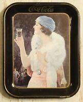 "Vintage Coca-Cola Metal Serving Tray 1920's Flapper Girl 10 1/2"" X 13 1/4"""
