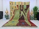 """Moroccan Boujaad Handmade Vintage Rug 6'3""""x10' Berber Abstract Green Wool Rug"""