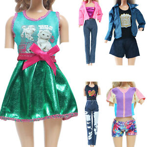 5 Shining Cool Girl Outfit Coat Shirt Shorts Dress Clothes for 12 inch Doll Toy